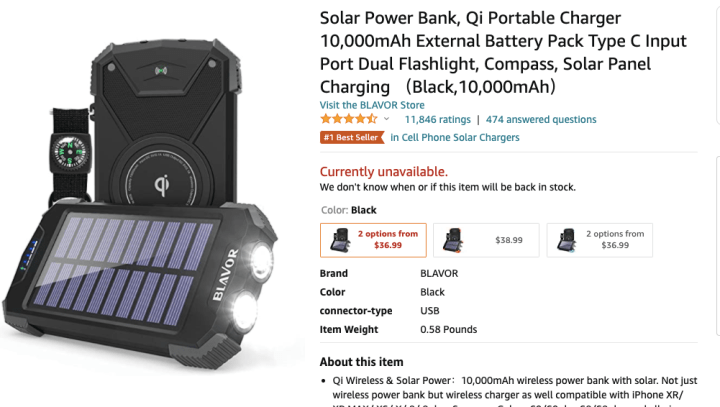 spellbound travels solar powered power bank amazon
