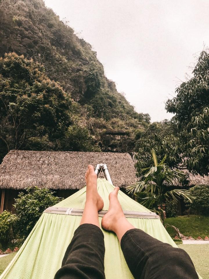 spellbound travels hammock at hostel in vietnam