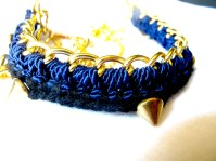 navy and blue crochet with chain necklace.