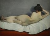 Vallotton Femme couché de dos sur canapé rouge