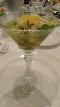 "An interesting and excellent ""seafood ceviche mojito"" appetizer"