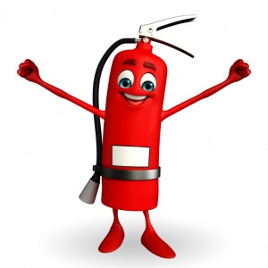 Fire Extinguisher character with happy pose
