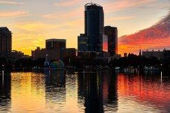 Gorgeous downtown Orlando, FL sunset.