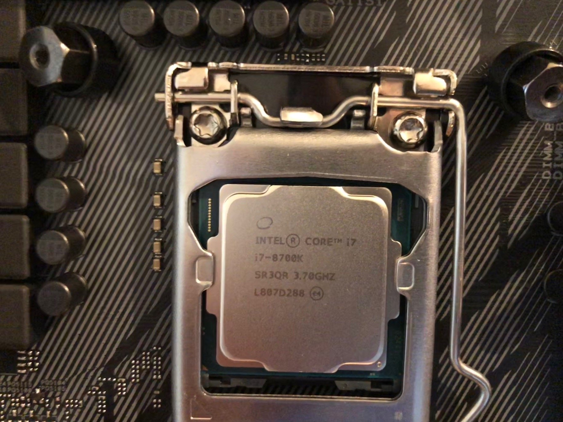 Close-up of the CPU