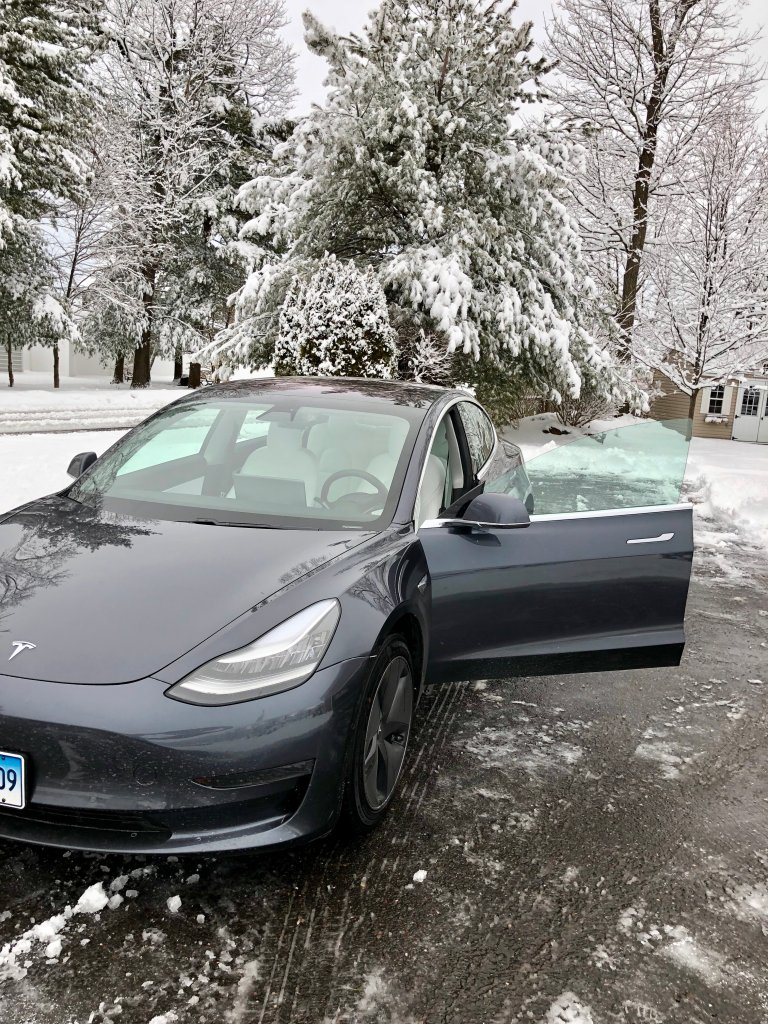 Tesla Model 3 in the snow
