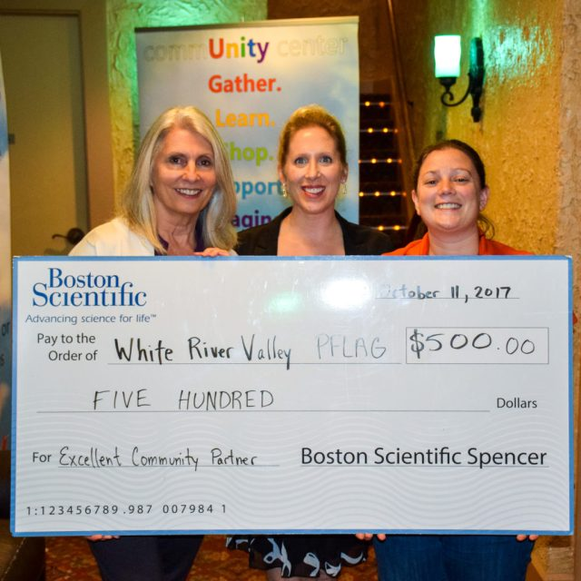 Boston Scientific PACE presented a check to WRV PFLAG prior to the film.   The money will be used to support Spencer Pride's youth group Iris.