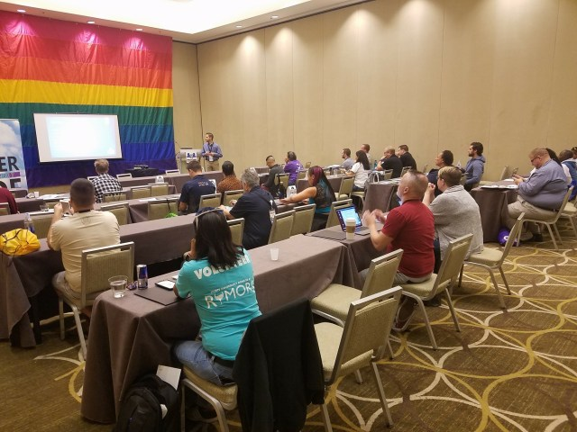 """The audience was highly engaged during Spencer Pride's presentation of """"How to Have Pride & Make Change in Rural America"""""""