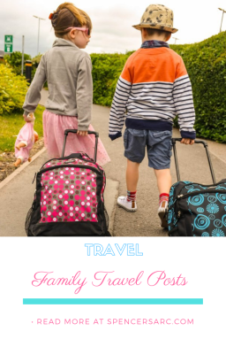 "boy girl twins children pulling suitcases wording underneath ""family travel posts"