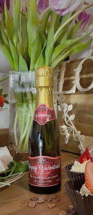 miniature bottle of prosecco with personalised label