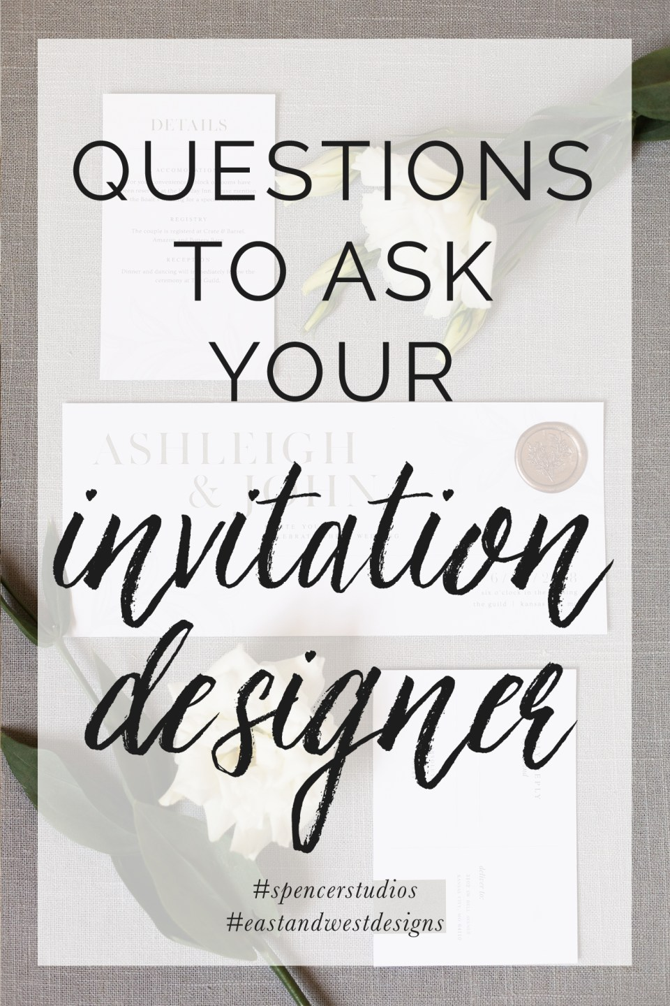 10 Questions to ask when booking wedding invitation designer. Spencer Studios. Kansas City Wedding Photographer.
