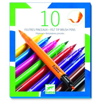 Djeco Felt Tip Brush Pens – 10 Classic Colours