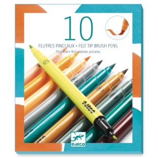 Djeco Felt Tip Brush Pens – 10 Tertiary Colours