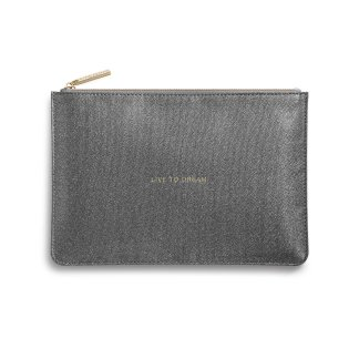 Katie Loxton Perfect Pouch – Live To Dream, Metallic Grey