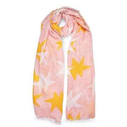 Katie Loxton Printed Scarf – Large Star Print, Blush Pink