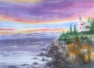 Acadia Lighthouse Sunset