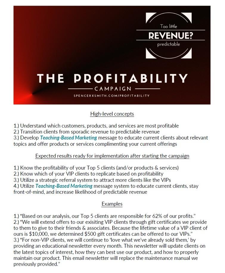 Spencer X Smith Profitability Campaign