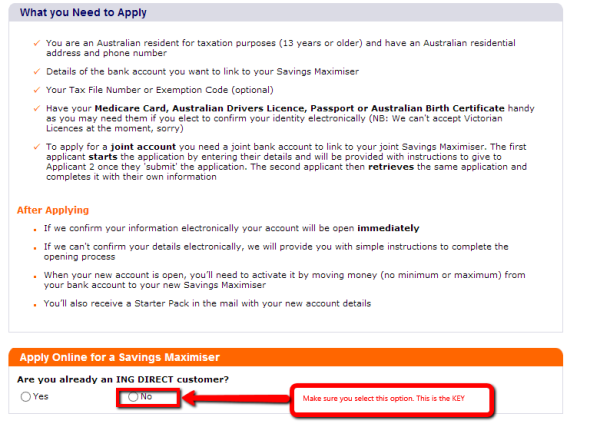 ING Direct application form