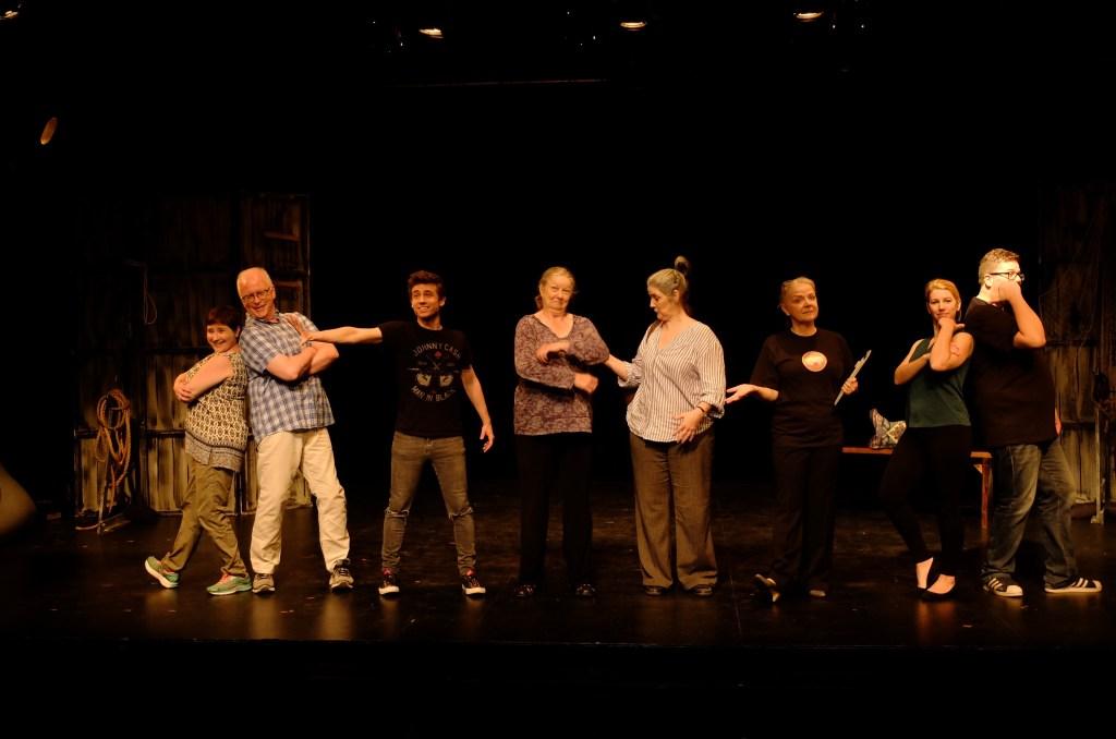 Tara Baxendale, Rick Jones, Kyle Orzech, Jillian Rees-Brown, Denise Norman, Charlotte Moore, Brianne Tucker, Bil Antoniou (photo by Jamie Thompson)