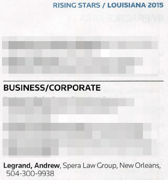 Andrew was named a Rising Star in the Business/Corporate Practice Area