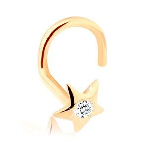 Diamantový zlatý piercing do nosa 585 - ligotavá hviezdička s briliantom