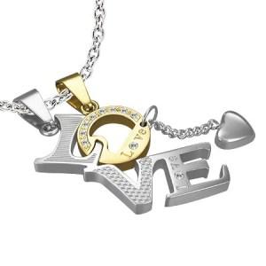 Dvojitý prívesok z ocele - LOVE