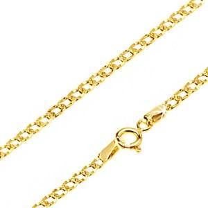 Lesklá zlatá retiazka 585 - oválne očká zdobené drobnými jamkami