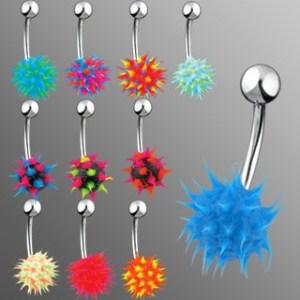 Piercing do brucha so silikónovým farebným ježkom - Farba piercing: Zelená - Aqua modrá