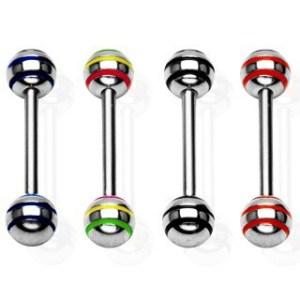 Piercing jazyka s veľkými gulôčkami - Farba zirkónu: Modrá - B