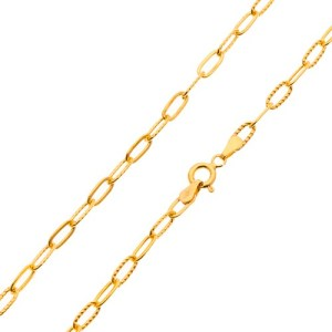Retiazka v žltom 14K zlate - hladké a vrúbkované väčšie oválne očká