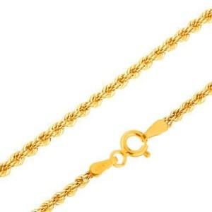 Retiazka v žltom 14K zlate - husto prepojené očká do špirály