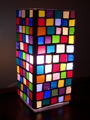 checkered lamp - lit