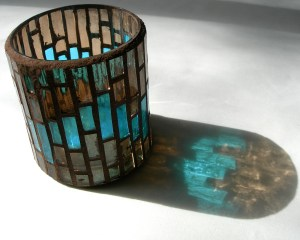 Brown and blue tealight holder