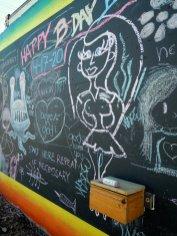 Chalkboard wall on the Rue de Merde