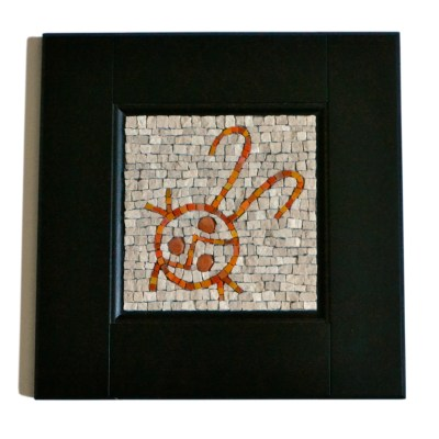 ladybug mosaic in marble and smalti by Julie Sperling