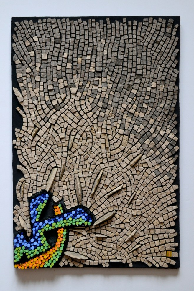 """""""Punctuated Equilibrium II"""" mosaic by Julie Sperling (2014, 18"""" x 12"""", glass rods, local stone, skateboard)"""