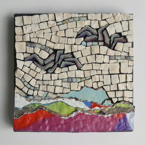 """Home range"" -- layered spray paint, marble, tile"