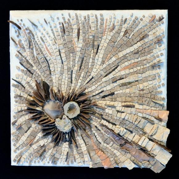 """Poïesis"" (14"" x 14"") -- marble, flint, smalti, shale, desert rose"