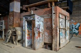 Industry and graffiti intersect all over Brick Works.