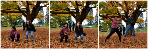Reunited after nearly 10 years and engaging in an age-old Canadian tradition: frolicking in the autumn leaves