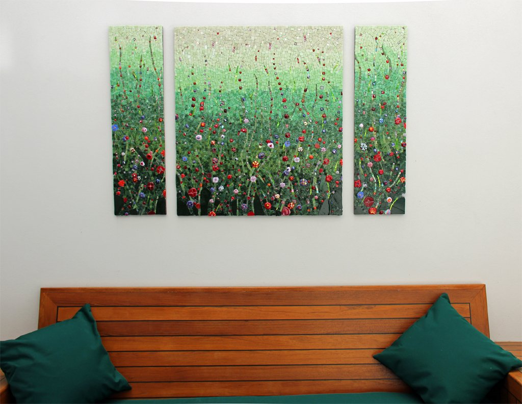 "Marian Shapiro's ""Field of Poppies""---a commission she nearly didn't take because she was unsure about how to work with the clients after the initial site visit. The piece has appeared in books and magazines and was a finalist in the architectural section of Mosaic Arts International in 2013."
