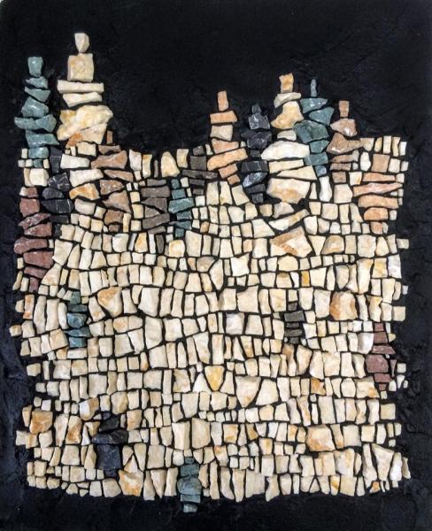 "Kelley Knickerbocker's ""Stockpile"" - made using discards from a floor installation by Erin Pankratz"