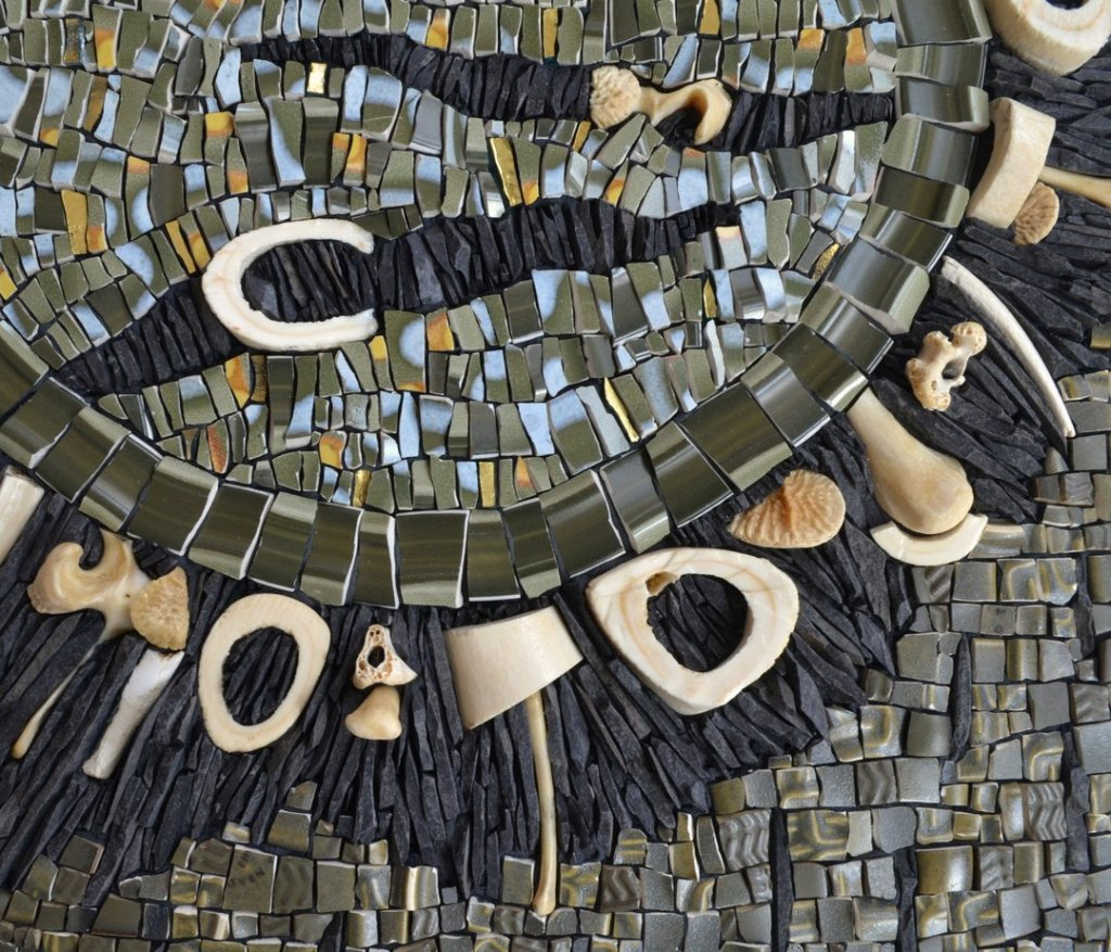 Julie Sperling mosaic about climate change and meat consumption -detail