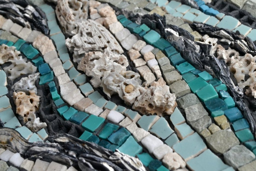 Mosaic about renewable energy (tidal and hydro section) by Julie Sperling