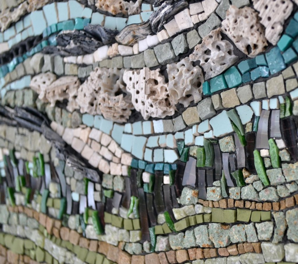 Mosaic about renewable energy by Julie Sperling (solar, tidal, hydro, biomass)