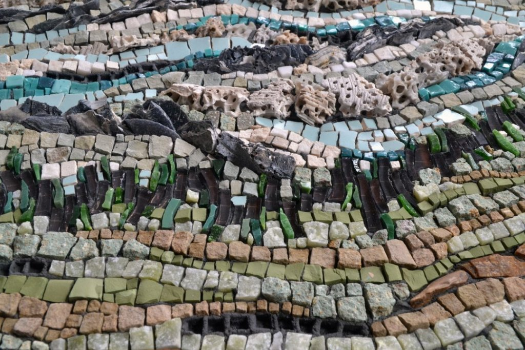 mosaic about renewable energy by Julie Sperling (solar, conservation, biomass, tidal, hydro)