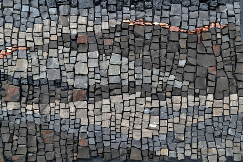 sperling mosaic about anthropocene using limestome and shale