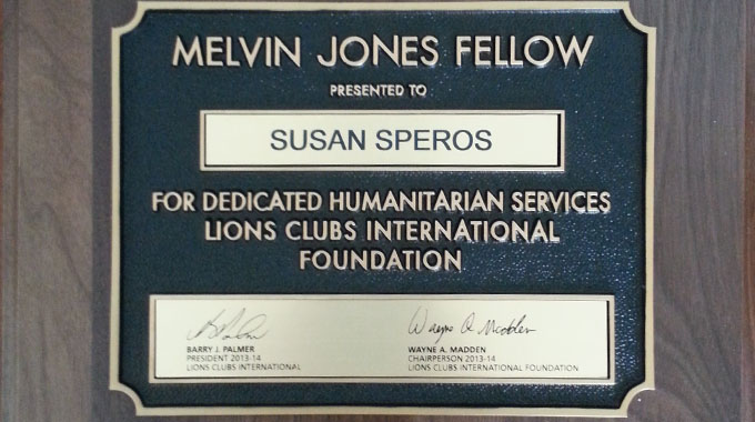Susan Speros Recieves The Melvin Jones Fellow Award