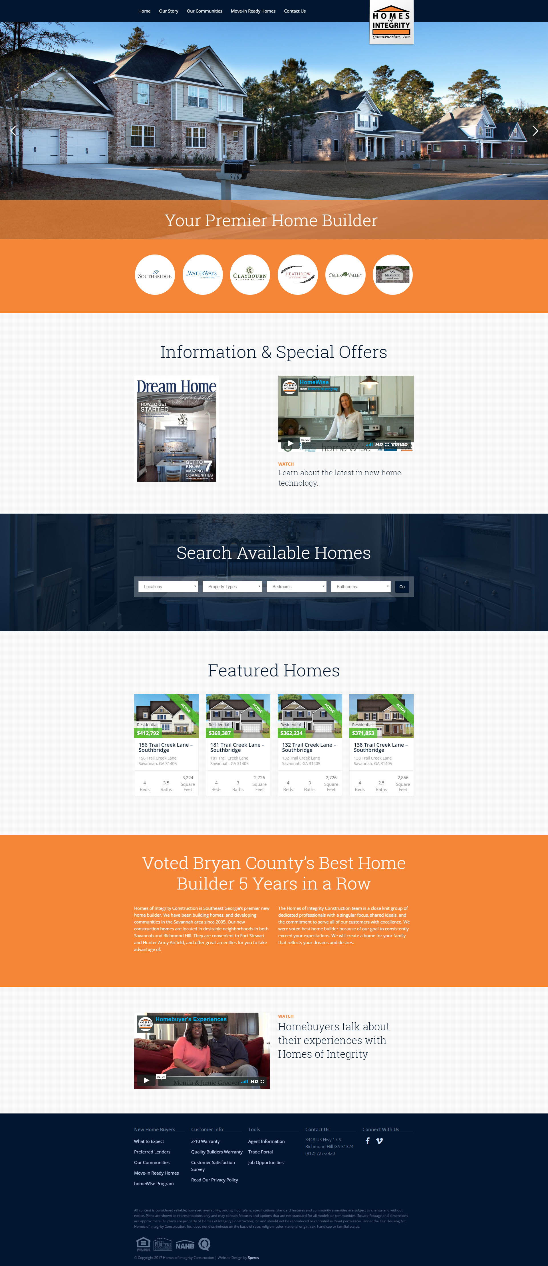 Homes of Integrity Construction Website