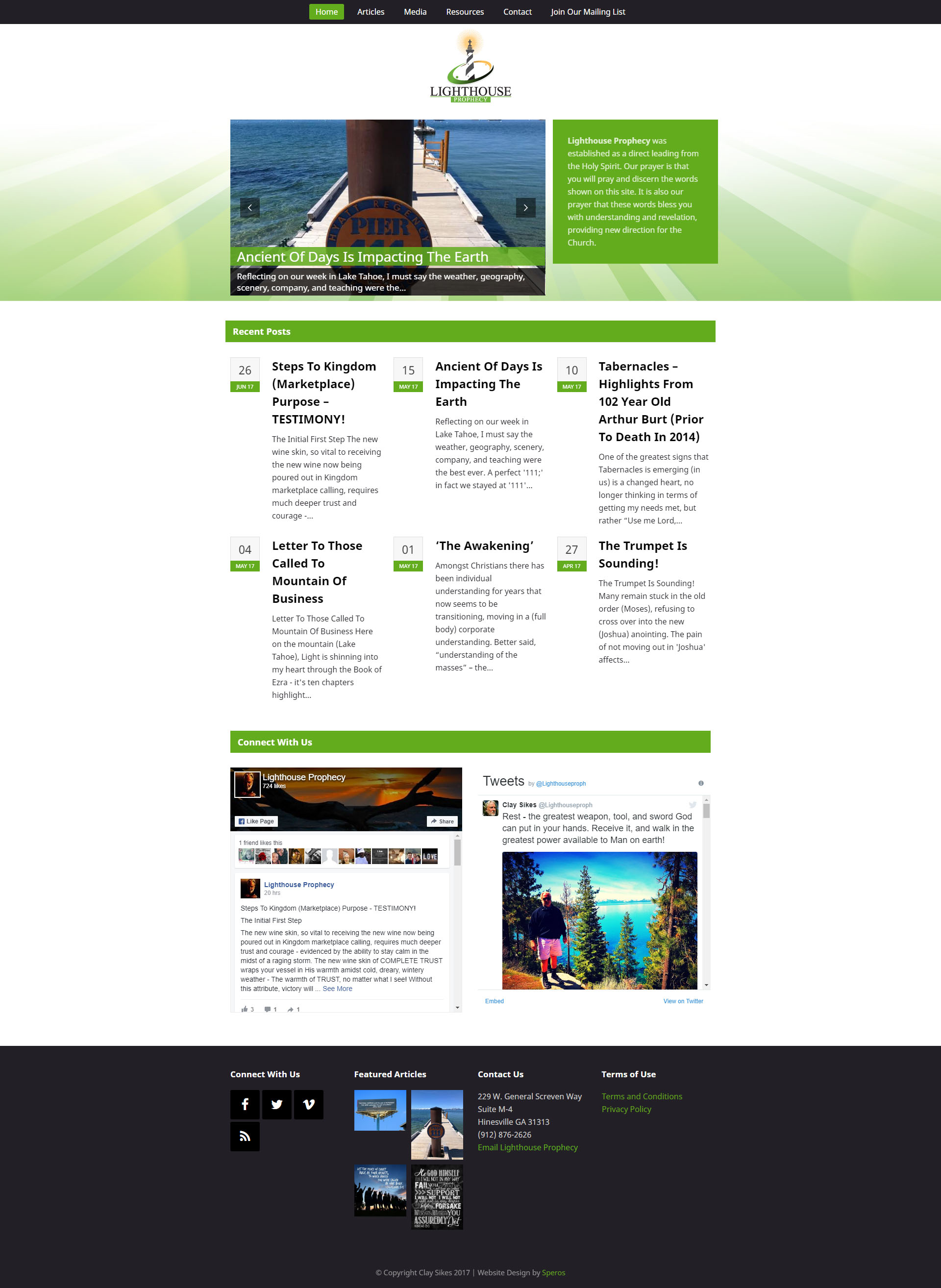 Light House Prophecy - Speros Web Design - Savannah