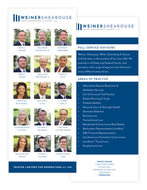 Weiner, Shearouse, Weitz, Greenberg and Shawe Branded Rack Card Design